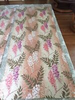 "2 Panels Of Vintage Barkcloth Wisteria Flowers 37"" X 90"""