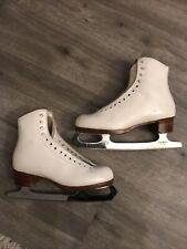 Riedell Redwing White Figure Ice Skates England Mk Sheffield Blades Women Sz 6 M