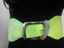 Women Elegant Elastic Waist Green Belt With Rhinestones Buckle Sizes S M L