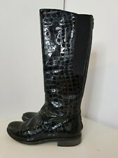 Hobbs Black Boots 'Nicole' Long Patent Leather Snakeskin Stretch Flat 3 RRP £239