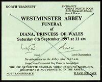 DIANA Princess Of Wales Funeral Admission Card 1997 - British Royalty - preprint