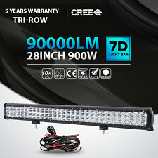 Tri Row 28inch 900W Cree LED Light Bar Spot Flood Combo Beam Car Boat 4WD 30/32""