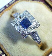 Antique Art Deco 18ct Gold, Platinum, Princess Sapphire & Diamond Ring, Size L