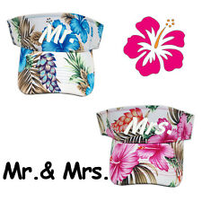 Hawaiian Floral Mr. & Mrs. Wedding Gift Set Sun Visor Caps PINK & BLUE