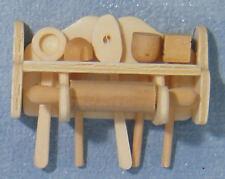 Wooden Kitchen Utensil's & Shelf, Dolls House Miniatures, 1.12 Scale Accessory