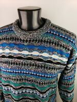 Vtg 90s Mens Sweater 3D Coogi Biggie Cosby Retro Expressions Large