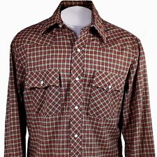 Vtg Five Brothers Large Plaid Shirt Dakota Western Long Sleeve Button Pearl Snap