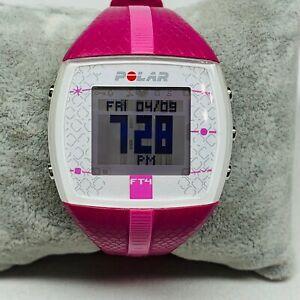 Polar FT4 Heart Rate Monitor Watch Women's Pink Digital NEW BATTERY (watch Only)