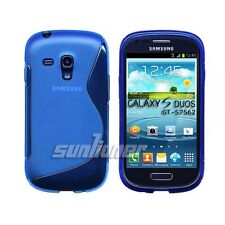 Blue Gel TPU Case Skin Cover for Samsung Galaxy S Duos, GT-S7562