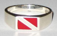LRG Scuba Diver Sterling Silver Dive Flag Ring SZ 12, 13