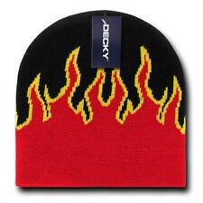 FIRE FLAMES BEANIE HAT Short Knit Cap winter ski snowboard skull motorcycle
