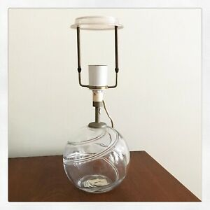 Holmegaard Art Glass Table Lamp Base Clear Lille Michael Bang Mid Century Modern