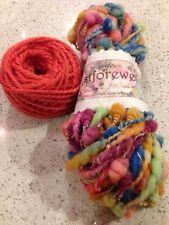Mixed Lot Art Yarn - Hand Spun Multi - Alpaca - Coral - Hat Kit