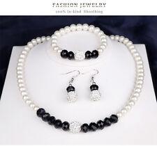 Silver Plated White Pearl Shamballa Rhinestone Beads Black Crystal Jewelry Sets