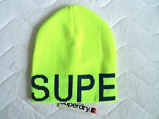 SUPERDRY Neon Yellow / Navy Over-sized BEANIE Toque HAT UNISEX TAG