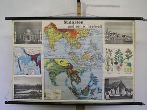 Schulwandkarte Wall Map Southern Asia Inselwelt Islands Card 39x26in ~ 1960