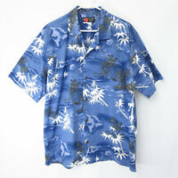 Ali'i Fashions Hawaiian Men XL Aloha Shirt Blue White Islands Map Cotton