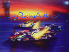 John Force vs Tony Pedregon.. Drag Racing Art Print by David Carl Peters