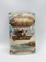 Reproduction Of Vintage 1909 Thanksgiving Postcard Turkeys In A Blimp USA Flags