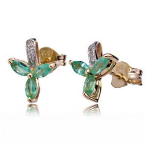 9ct Gold Earrings Diamond Studs Natural Emeralds Green Marquise Leaves Ojeweller
