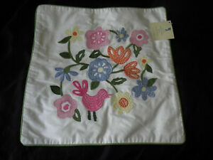 """Pottery Barn Kids Kaitlyn White 16"""" Square Colorful Embroidered Flowers Bird"""