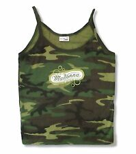 Madonna Too Fresh Girls Juniors Green Camouflage Camisole Shirt L New Official
