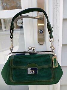 Vintage Coach 9734 Leather and Suede Kisslock Small Purse/handbag euc