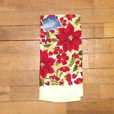 Poinsettia And Holly Christmas Kitchen Towel - Red Green Gold Floral