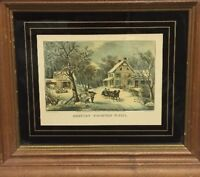 Vintage Print American Homestead Winter Hand Framed Sleigh Snow Country