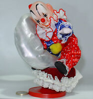 CARILLON CLOWN PORCELLANA VINTAGE ANNI 80 PAGLIACCIO Music Box Wind-Up & Rotate