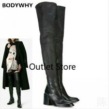 Runway Womens Over The Knee High Thigh Boots British Cowgirl Leather Shoes Goth