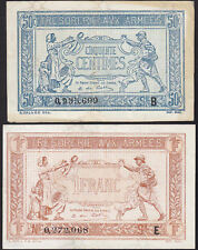French Armee Money France 50 C. + 1 Francs Tresorerie aux Armees Pick M1 + M2