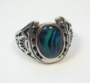 Stainless Steel Abalone Shell Horseshoe Ring Size 9 10 11 12 13 14 Paua Hypo