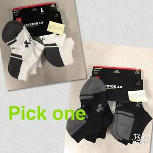NEW 6Pairs Under Armour Youth Boy's UA Resistor 3.0 Training NO SHOW Socks YLG