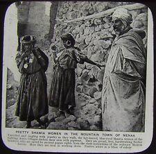 Glass Magic Lantern Slide SHAWIA WOMEN MENAA C1910 PHOTO ALGERIA