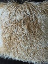 Genuine Mongolian Lamb Fur Square Pillow Cushion  Beige with Snow top16x16