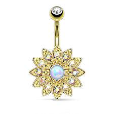 "14K Gold Plated Opal Center CZ Flower Double Gem Navel Belly Ring 14g 3/8"""