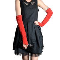 New Women's Real Suede leather Semi-finger fingerless Party Evening long gloves