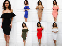 New Womens Ladies Off Shoulder Bardot Frill Ruffle Midi Summer Bodycon Dress