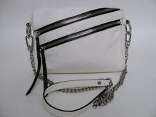 orYANY WHITE LEATHER PURSE SILVER CHAIN CROSS BODY DOUBLE ZIPPER EVENING BAG