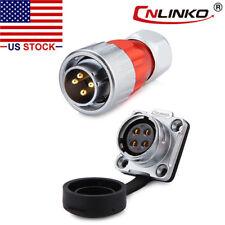 4 Pin Power Circular Connector Male Plug Female Socket Waterproof Outdoor Metal