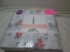 New Jacqueleen Full Sheet Set PARIS LOVE ~ Eiffel Tower, Roses, Versailles NIP