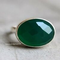 Facete Green Onyx Ring 925 Sterling Silver Women Gift Jewelry.All US SIZE