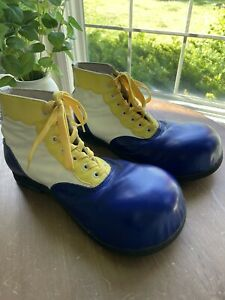 """Sz 7 VTG Leather Handcrafted """"For Pingo"""" Blue Yellow Professional Clown Shoes"""