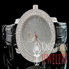 Mens White Khronos Real Diamond Jojino Joe Rodeo 2 Row Iced Bezel Steel Watch