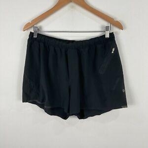 Lululemon Mens Gym Shorts Large Black Elastic Waist Drawstring Zip Pocket