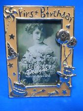 "Berkeley Designs Enamel silvertone Picture Frame 2""x3"" First Birthday Cake Bear"