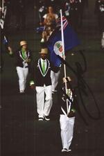 ATHLETICS: KEMAR HYMAN SIGNED 6x4 OPENING CEREMONY FLAG PHOTO+COA *LONDON 2012*