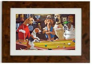 "Arthur SarnoffFramed Print ""One leg on the floor"" Pool Dogs"