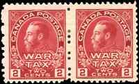 Canada #MR2 mint F-VF OG HR 1915 KGV 2c carmine Admiral War Tax Pair CV$50.00